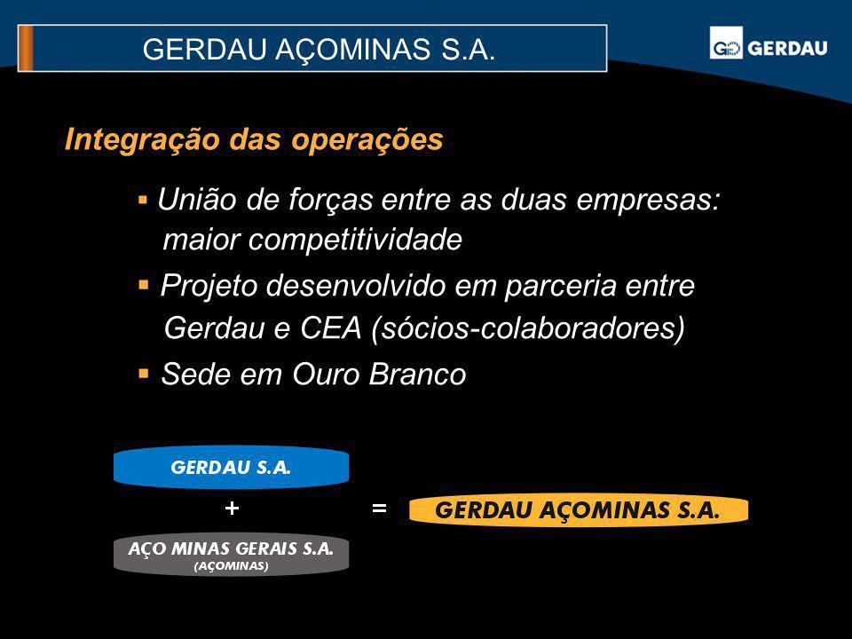 União de forças entre as duas empresas: maior competitividade Projeto desenvolvido em parceria entre Gerdau e CEA (sócios-colaboradores) Sede em Ouro