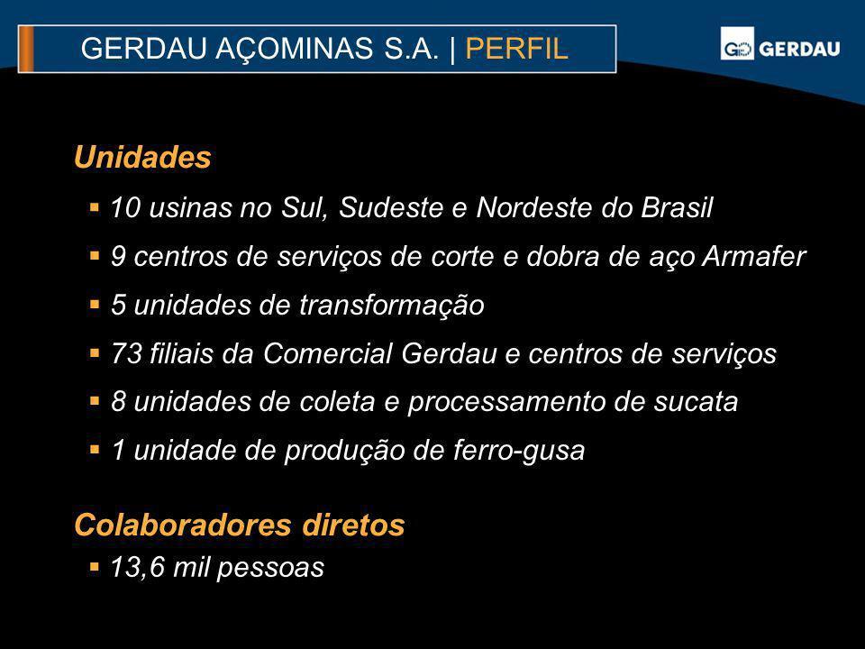 GERDAU AÇOMINAS S.A. | PERFIL 10 usinas no Sul, Sudeste e Nordeste do Brasil 9 centros de serviços de corte e dobra de aço Armafer 5 unidades de trans