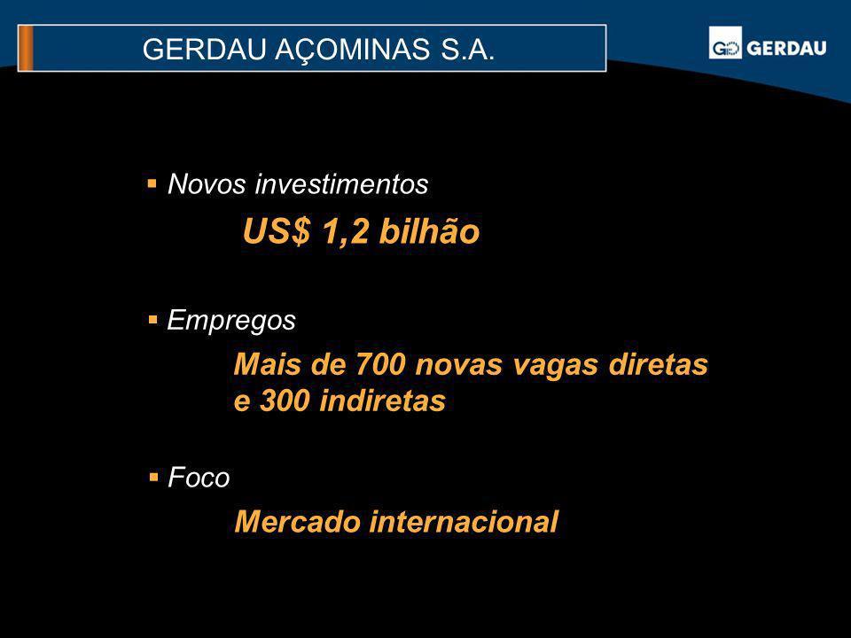 Novos investimentos US$ 1,2 bilhão Empregos Mais de 700 novas vagas diretas e 300 indiretas Foco Mercado internacional GERDAU AÇOMINAS S.A.