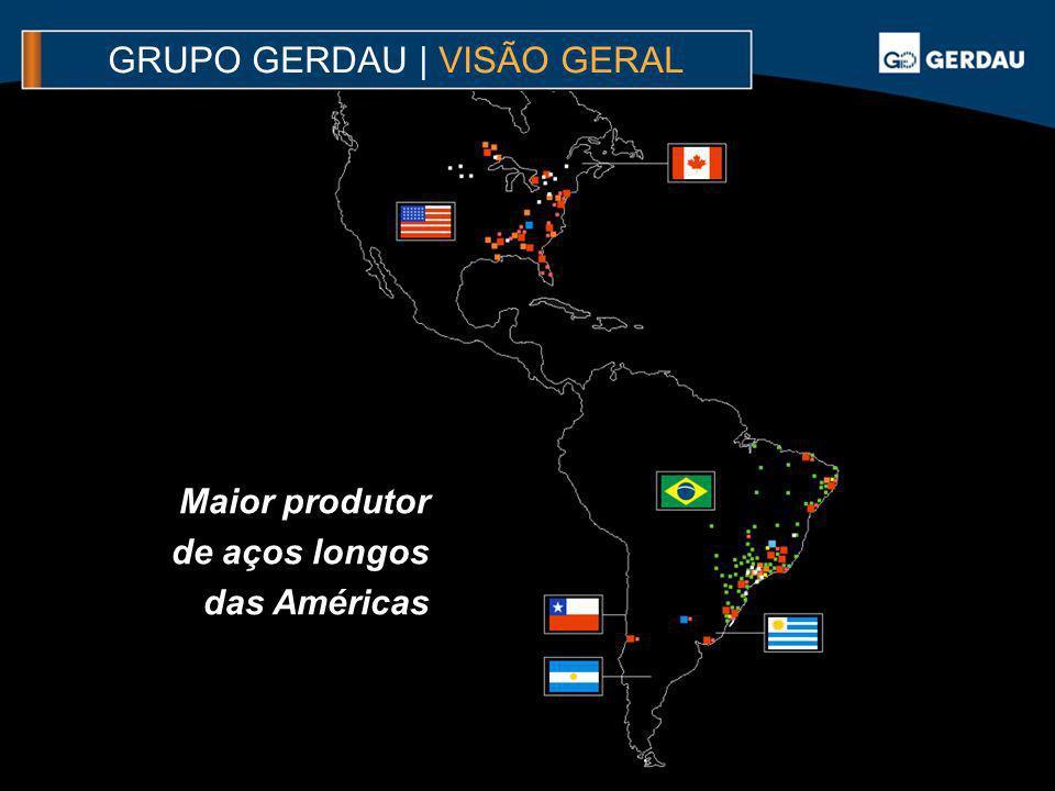 GRUPO GERDAU | VISÃO GERAL Maior produtor de aços longos das Américas