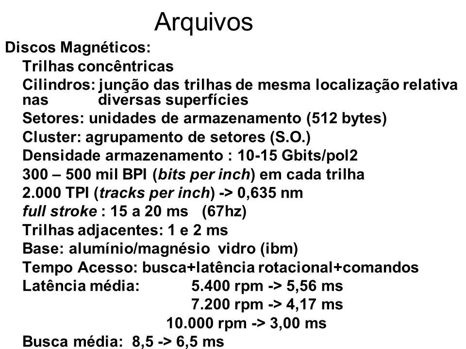 Arquivos Discos Magnéticos: Trilhas concêntricas Cilindros: junção das trilhas de mesma localização relativa nas diversas superfícies Setores: unidade