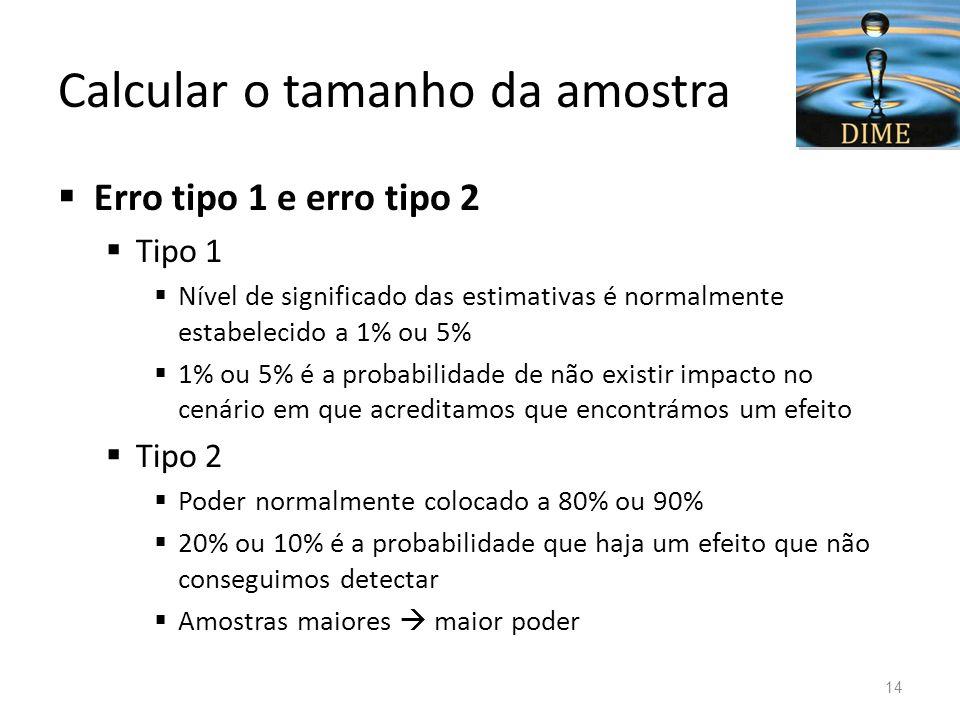 Calcular o tamanho da amostra Erro tipo 1 e erro tipo 2 Tipo 1 Nível de significado das estimativas é normalmente estabelecido a 1% ou 5% 1% ou 5% é a