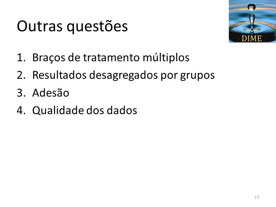 Outras questões 1.Braços de tratamento múltiplos 2.Resultados desagregados por grupos 3.Adesão 4.Qualidade dos dados 17