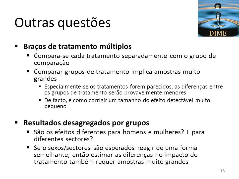 Outras questões Braços de tratamento múltiplos Compara-se cada tratamento separadamente com o grupo de comparação Comparar grupos de tratamento implic