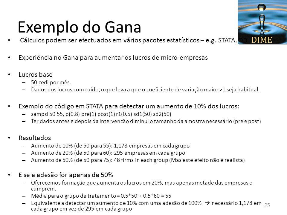 Exemplo do Gana Cálculos podem ser efectuados em vários pacotes estatísticos – e.g. STATA, OD Experiência no Gana para aumentar os lucros de micro-emp