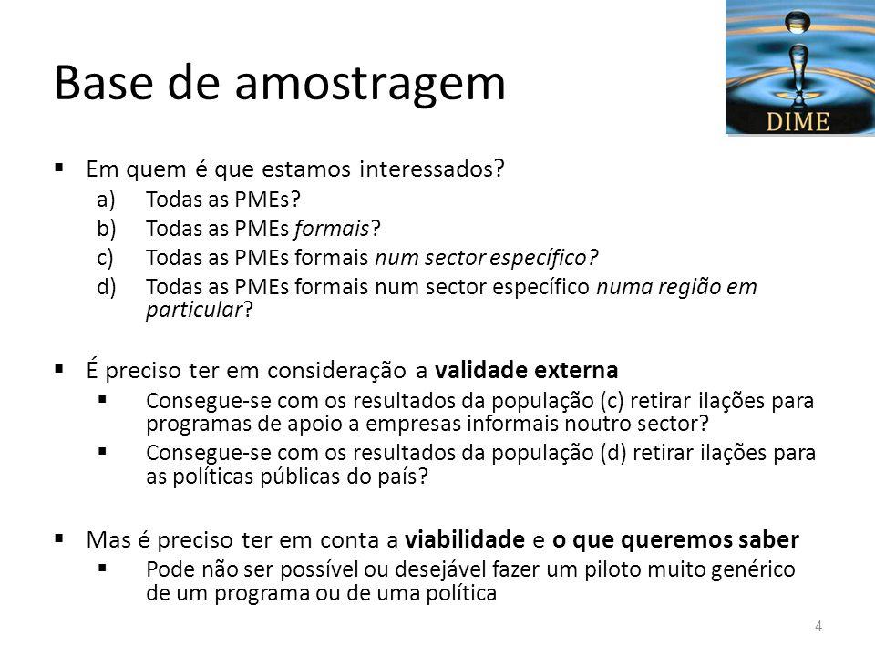 Base de amostragem Em quem é que estamos interessados? a)Todas as PMEs? b)Todas as PMEs formais? c)Todas as PMEs formais num sector específico? d)Toda