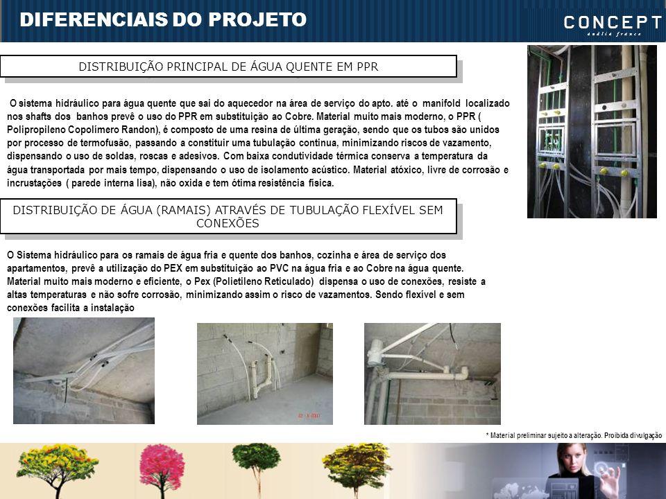 DIFERENCIAIS DO PROJETO DISTRIBUIÇÃO PRINCIPAL DE ÁGUA QUENTE EM PPR O sistema hidráulico para água quente que sai do aquecedor na área de serviço do apto.