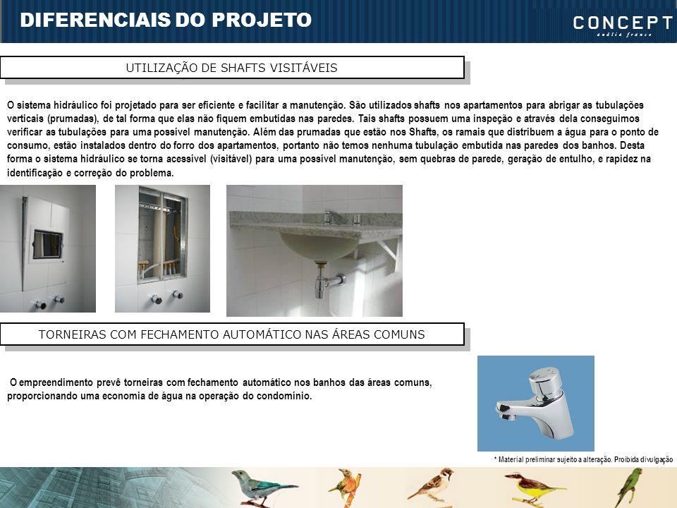 DIFERENCIAIS DO PROJETO UTILIZAÇÃO DE SHAFTS VISITÁVEIS O sistema hidráulico foi projetado para ser eficiente e facilitar a manutenção. São utilizados