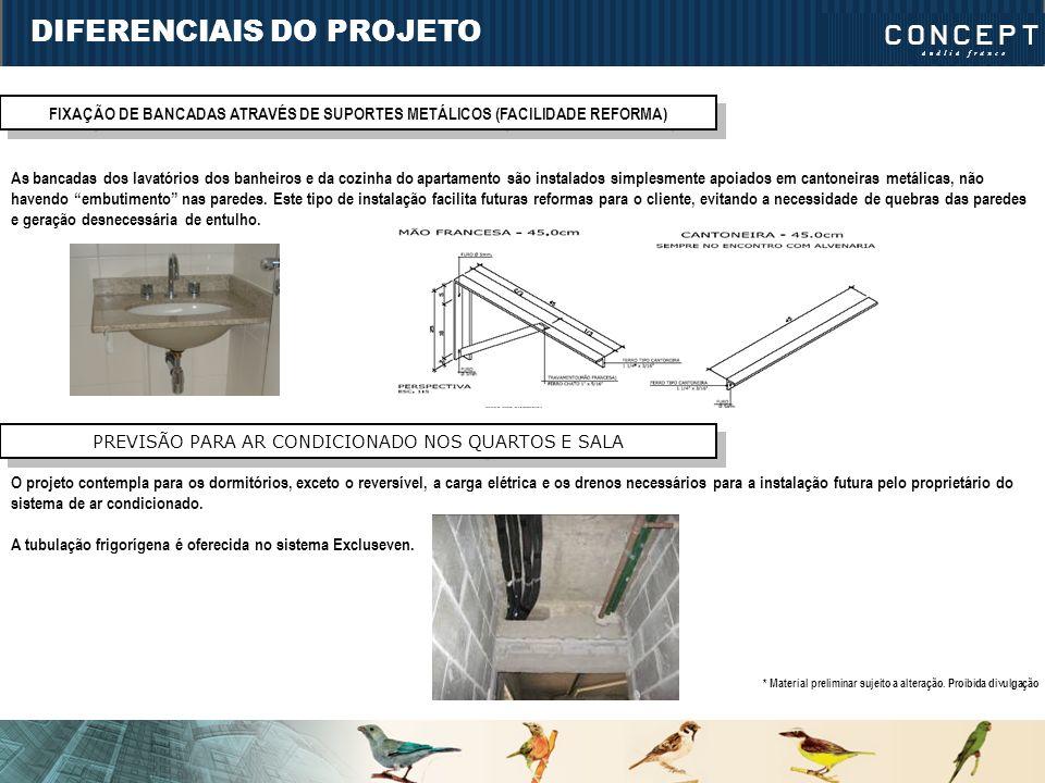 DIFERENCIAIS DO PROJETO FIXAÇÃO DE BANCADAS ATRAVÉS DE SUPORTES METÁLICOS (FACILIDADE REFORMA) As bancadas dos lavatórios dos banheiros e da cozinha d
