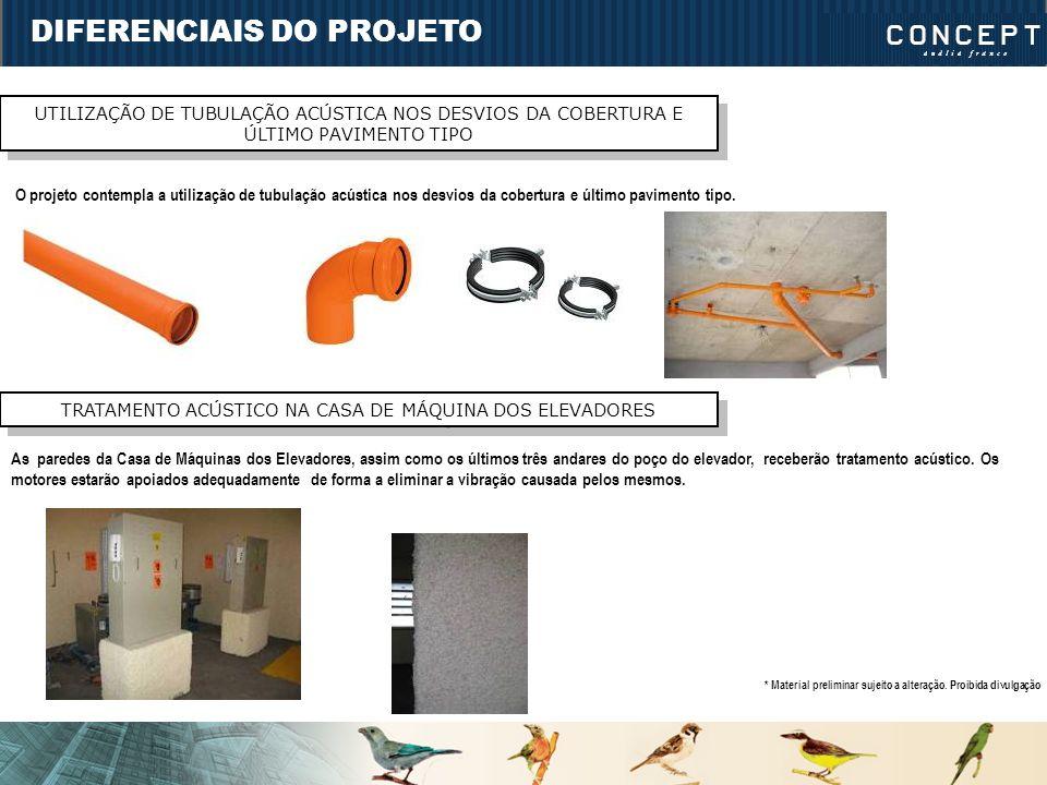 DIFERENCIAIS DO PROJETO UTILIZAÇÃO DE TUBULAÇÃO ACÚSTICA NOS DESVIOS DA COBERTURA E ÚLTIMO PAVIMENTO TIPO O projeto contempla a utilização de tubulaçã