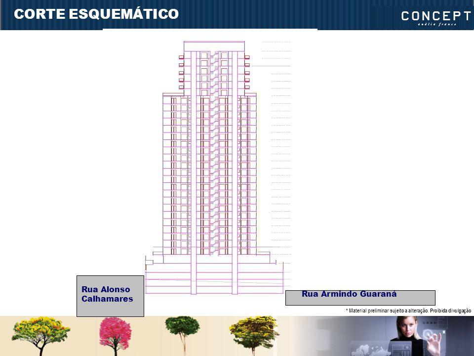 CORTE ESQUEMÁTICO Rua Armindo Guaraná Rua Alonso Calhamares * Material preliminar sujeito a alteração.
