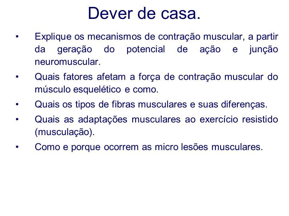 Dever de casa. Explique os mecanismos de contração muscular, a partir da geração do potencial de ação e junção neuromuscular. Quais fatores afetam a f