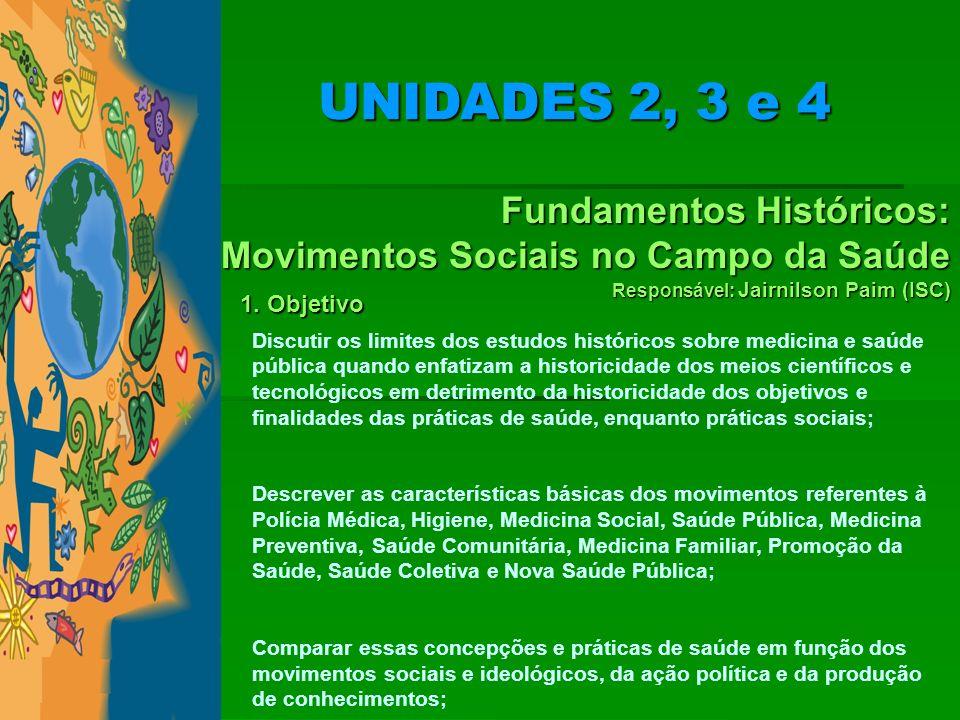 Fundamentos Históricos: Movimentos Sociais no Campo da Saúde Responsável: Jairnilson Paim (ISC) 1. Objetivo Discutir os limites dos estudos históricos