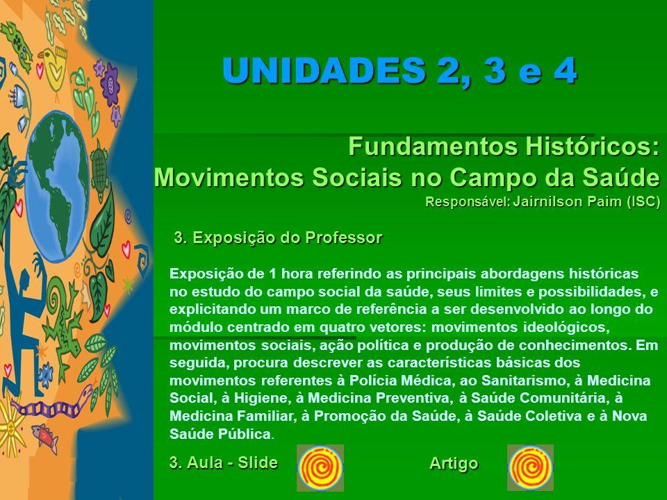 Fundamentos Históricos: Movimentos Sociais no Campo da Saúde Responsável: Jairnilson Paim (ISC) 3. Exposição do Professor Exposição de 1 hora referind