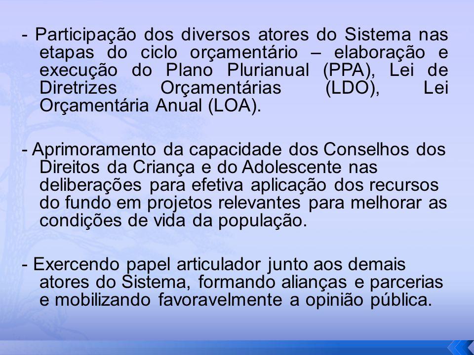 - Participação dos diversos atores do Sistema nas etapas do ciclo orçamentário – elaboração e execução do Plano Plurianual (PPA), Lei de Diretrizes Or