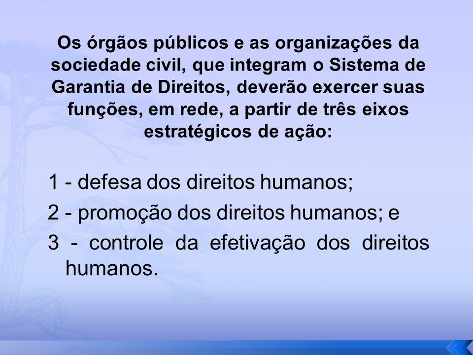 1 - defesa dos direitos humanos; 2 - promoção dos direitos humanos; e 3 - controle da efetivação dos direitos humanos. Os órgãos públicos e as organiz