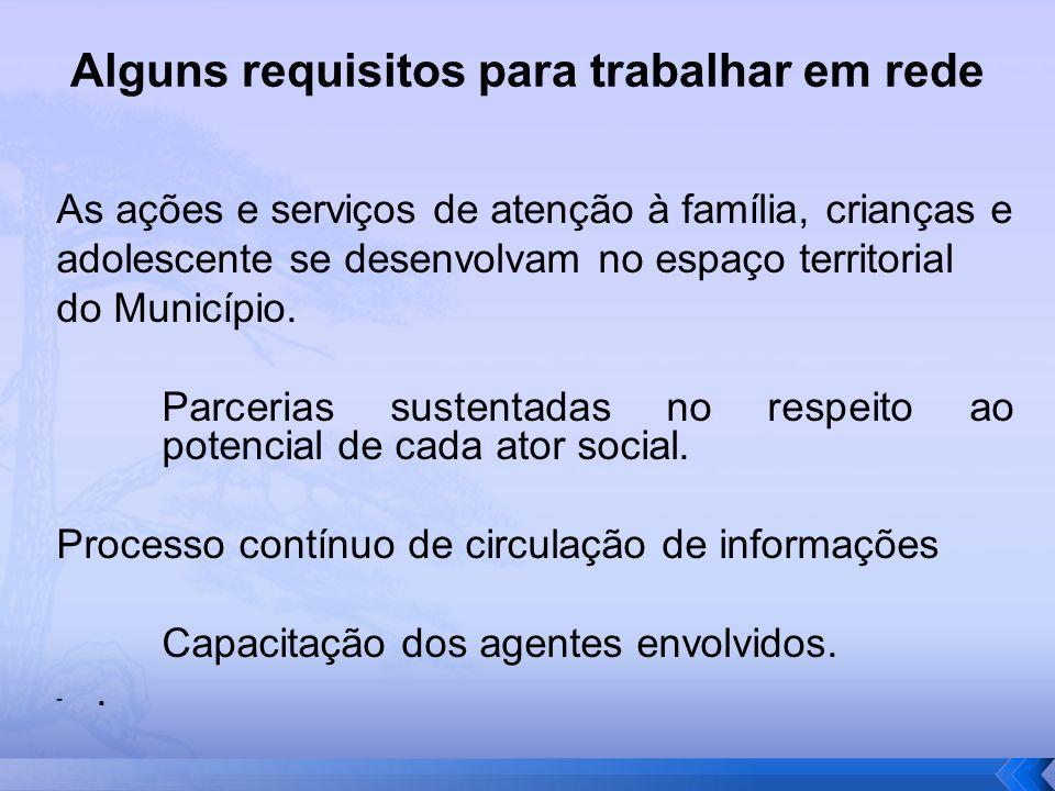 Alguns requisitos para trabalhar em rede As ações e serviços de atenção à família, crianças e adolescente se desenvolvam no espaço territorial do Muni