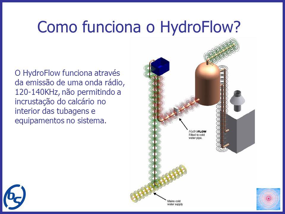 O HydroFlow funciona através da emissão de uma onda rádio, 120-140KHz, não permitindo a incrustação do calcário no interior das tubagens e equipamento