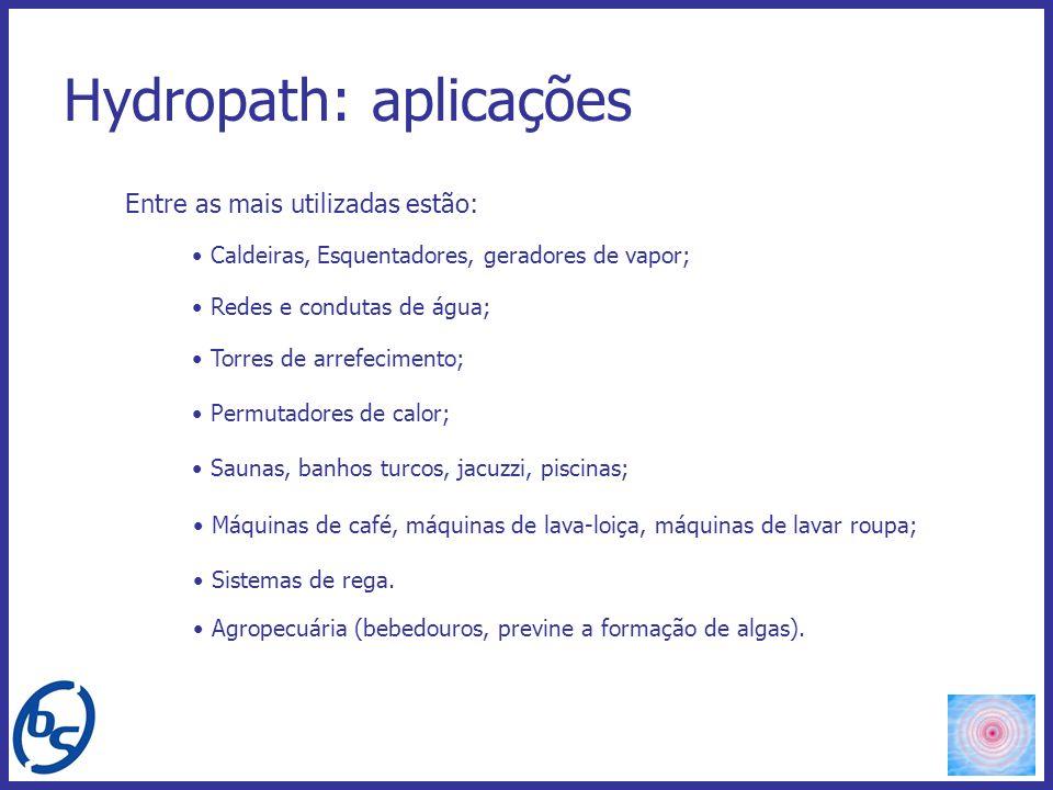 Hydropath: aplicações Caldeiras, Esquentadores, geradores de vapor; Redes e condutas de água; Torres de arrefecimento; Permutadores de calor; Saunas,