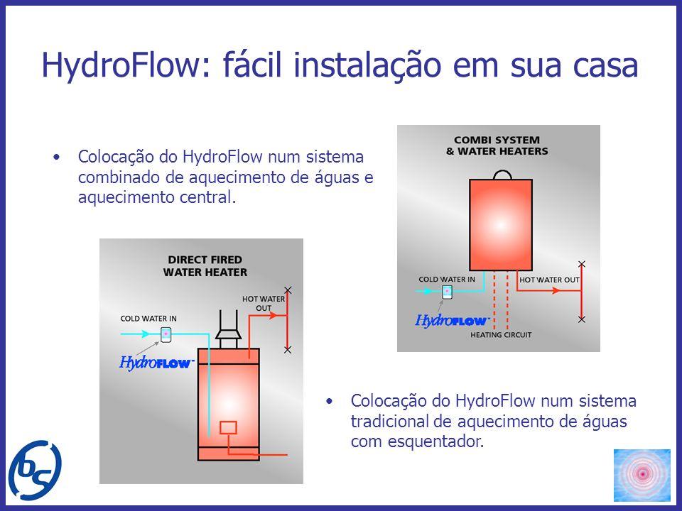 HydroFlow: fácil instalação em sua casa Colocação do HydroFlow num sistema combinado de aquecimento de águas e aquecimento central. Colocação do Hydro