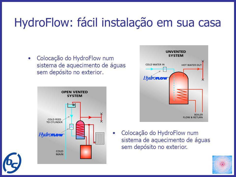 HydroFlow: fácil instalação em sua casa Colocação do HydroFlow num sistema de aquecimento de águas sem depósito no exterior.