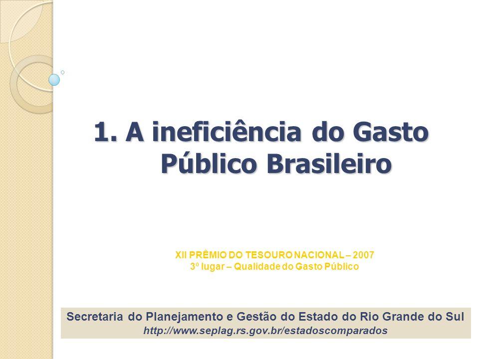 1. A ineficiência do Gasto Público Brasileiro Secretaria do Planejamento e Gestão do Estado do Rio Grande do Sul http://www.seplag.rs.gov.br/estadosco