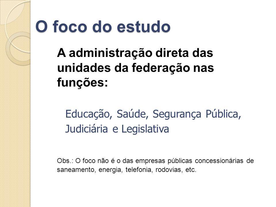 O foco do estudo A administração direta das unidades da federação nas funções: Educação, Saúde, Segurança Pública, Judiciária e Legislativa Obs.: O fo