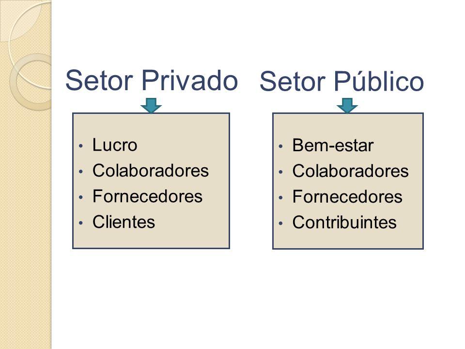 Setor Público Lucro Colaboradores Fornecedores Clientes Bem-estar Colaboradores Fornecedores Contribuintes Setor Privado