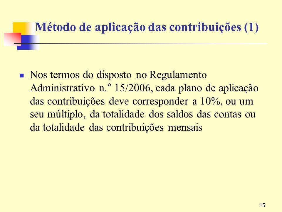 15 Método de aplicação das contribuições (1) Nos termos do disposto no Regulamento Administrativo n.° 15/2006, cada plano de aplicação das contribuições deve corresponder a 10%, ou um seu múltiplo, da totalidade dos saldos das contas ou da totalidade das contribuições mensais