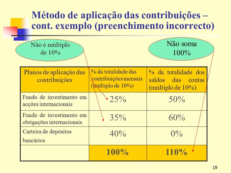 19 Método de aplicação das contribuições – cont.