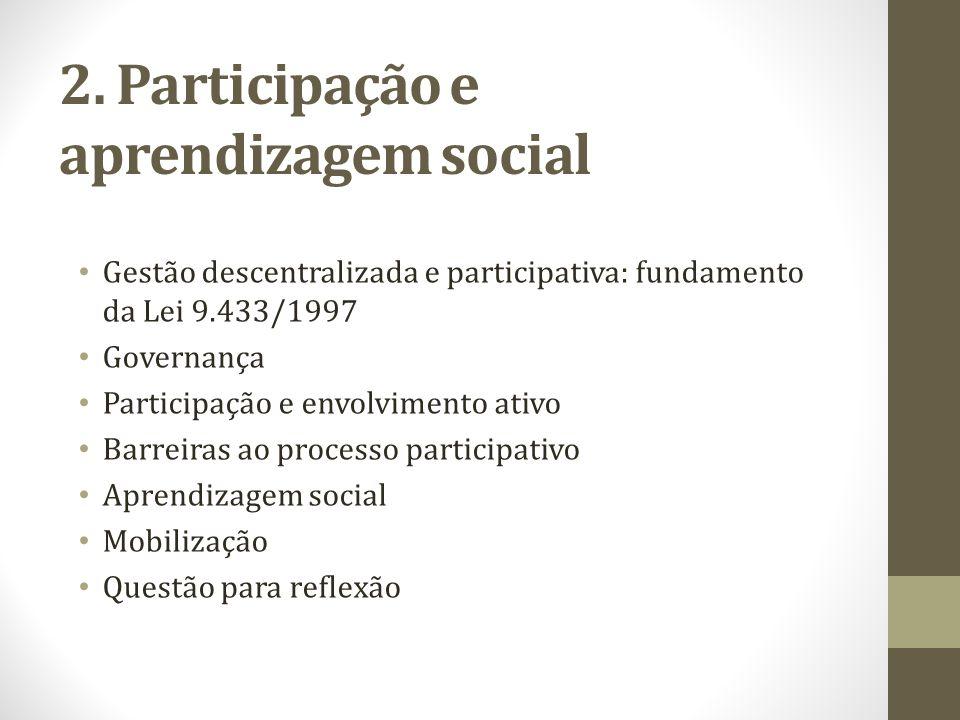 Gestão descentralizada e participativa: fundamento da Lei 9.433/1997 Governança Participação e envolvimento ativo Barreiras ao processo participativo