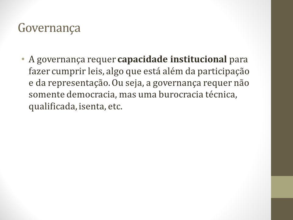 Governança A governança requer capacidade institucional para fazer cumprir leis, algo que está além da participação e da representação. Ou seja, a gov