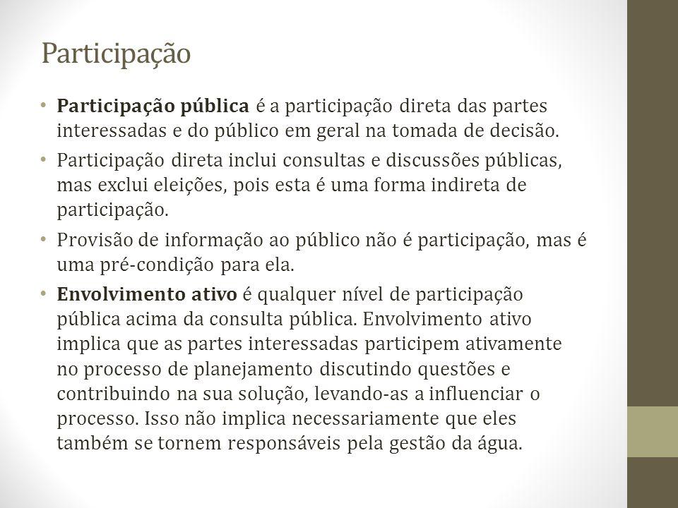 Participação Participação pública é a participação direta das partes interessadas e do público em geral na tomada de decisão. Participação direta incl