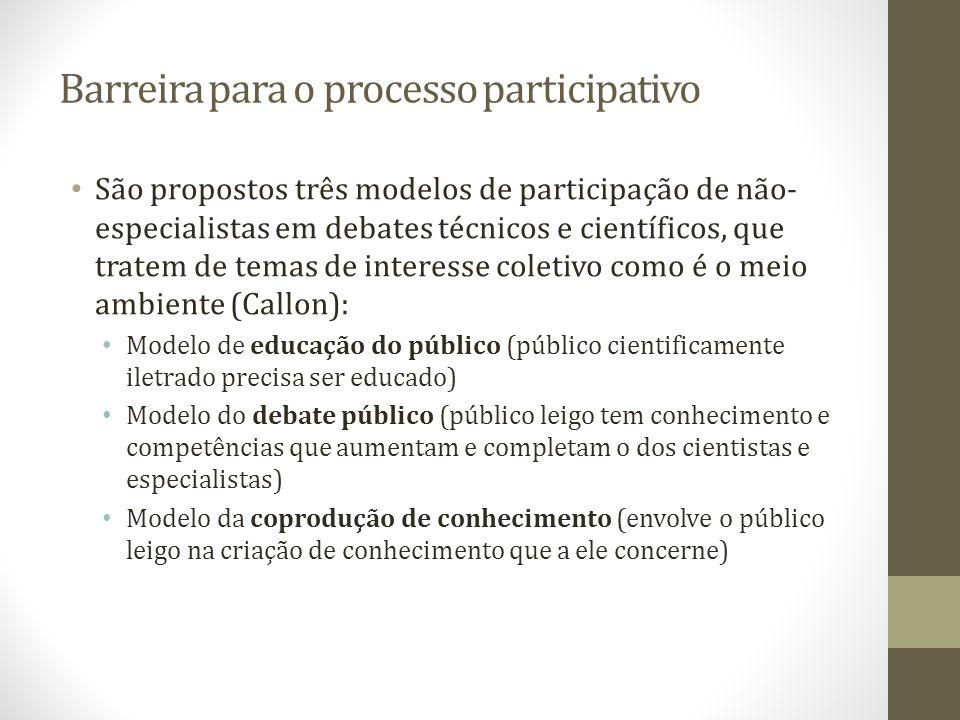 Barreira para o processo participativo São propostos três modelos de participação de não- especialistas em debates técnicos e científicos, que tratem