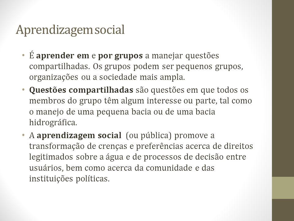 Aprendizagem social É aprender em e por grupos a manejar questões compartilhadas. Os grupos podem ser pequenos grupos, organizações ou a sociedade mai
