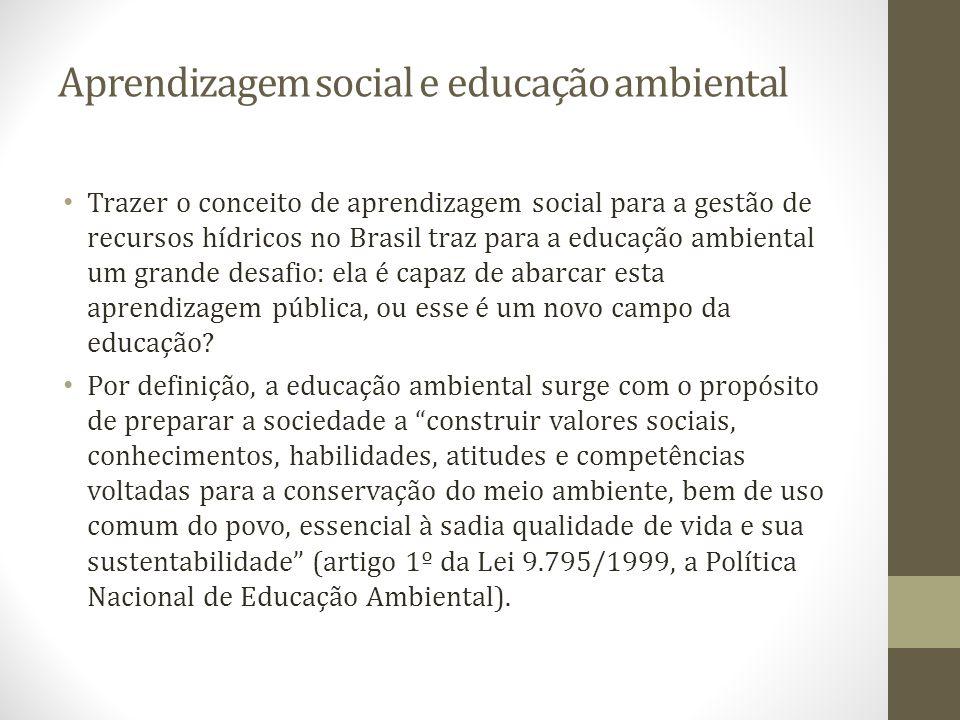 Aprendizagem social e educação ambiental Trazer o conceito de aprendizagem social para a gestão de recursos hídricos no Brasil traz para a educação am