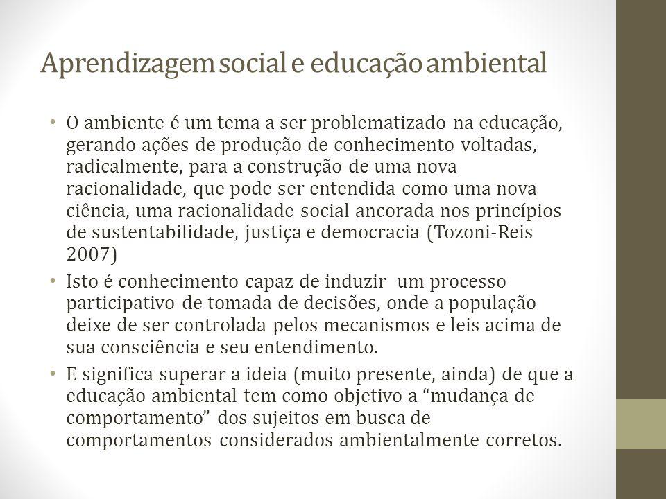 Aprendizagem social e educação ambiental O ambiente é um tema a ser problematizado na educação, gerando ações de produção de conhecimento voltadas, ra