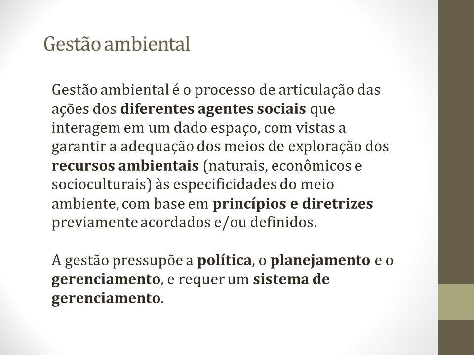 Gestão ambiental Gestão ambiental é o processo de articulação das ações dos diferentes agentes sociais que interagem em um dado espaço, com vistas a g