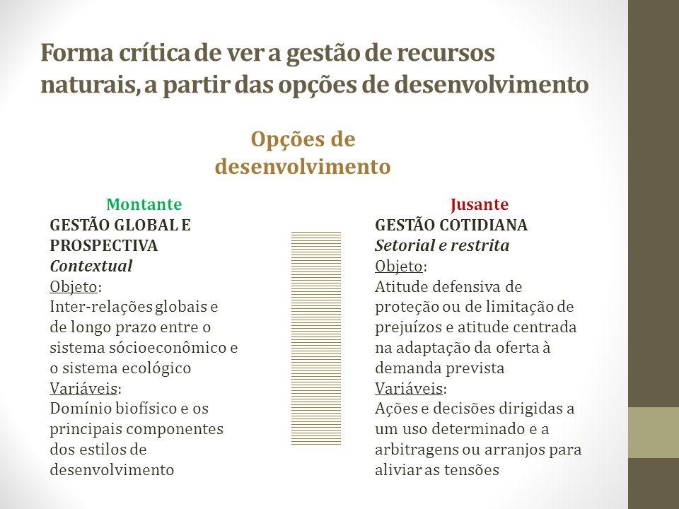 Forma crítica de ver a gestão de recursos naturais, a partir das opções de desenvolvimento Opções de desenvolvimento Jusante GESTÃO COTIDIANA Setorial