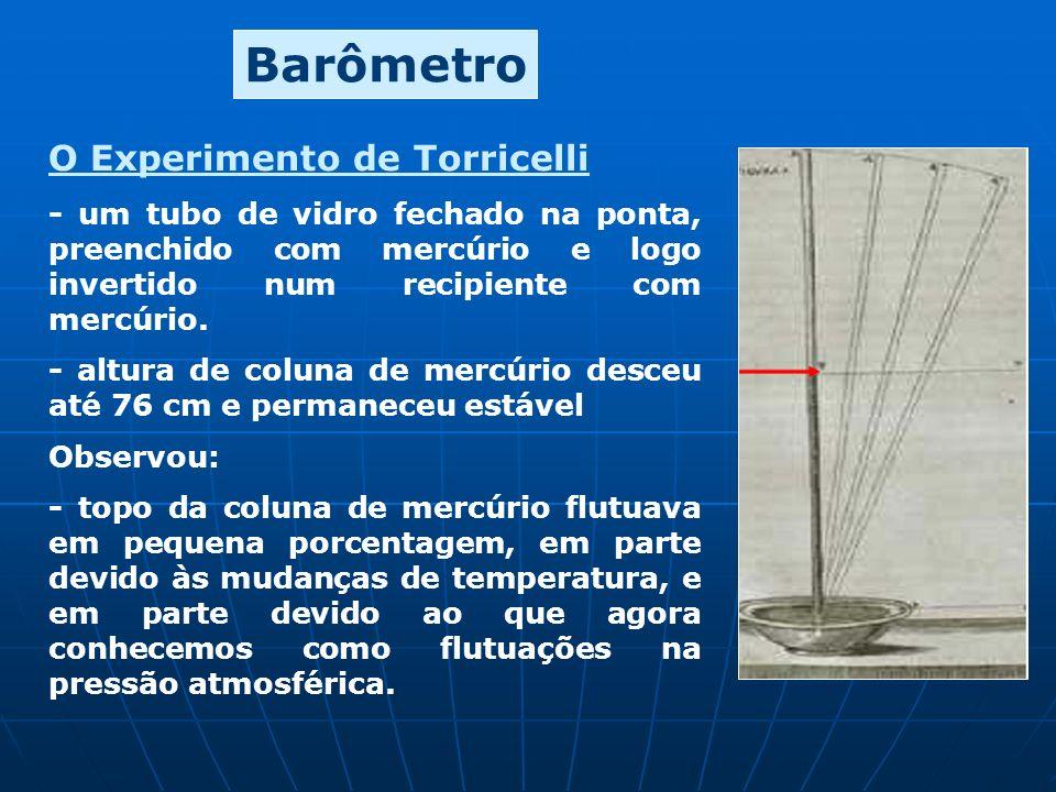O Experimento de Torricelli - um tubo de vidro fechado na ponta, preenchido com mercúrio e logo invertido num recipiente com mercúrio. - altura de col