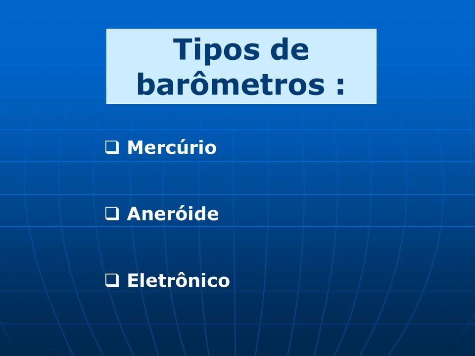 Tipos de barômetros : Mercúrio Aneróide Eletrônico
