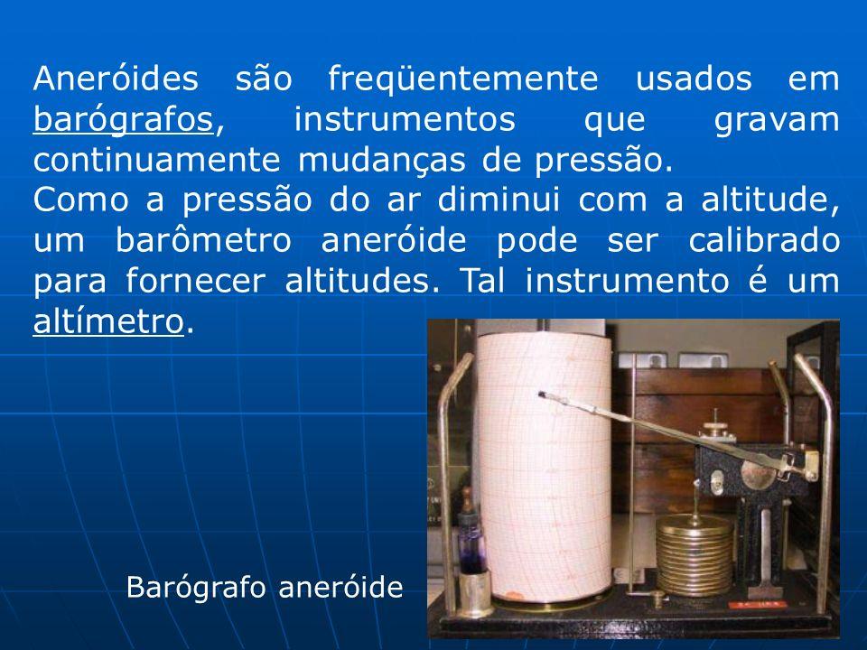 Aneróides são freqüentemente usados em barógrafos, instrumentos que gravam continuamente mudanças de pressão. Como a pressão do ar diminui com a altit
