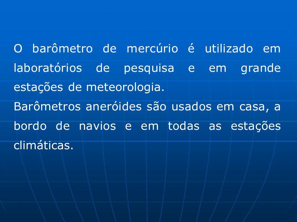 O barômetro de mercúrio é utilizado em laboratórios de pesquisa e em grande estações de meteorologia. Barômetros aneróides são usados em casa, a bordo