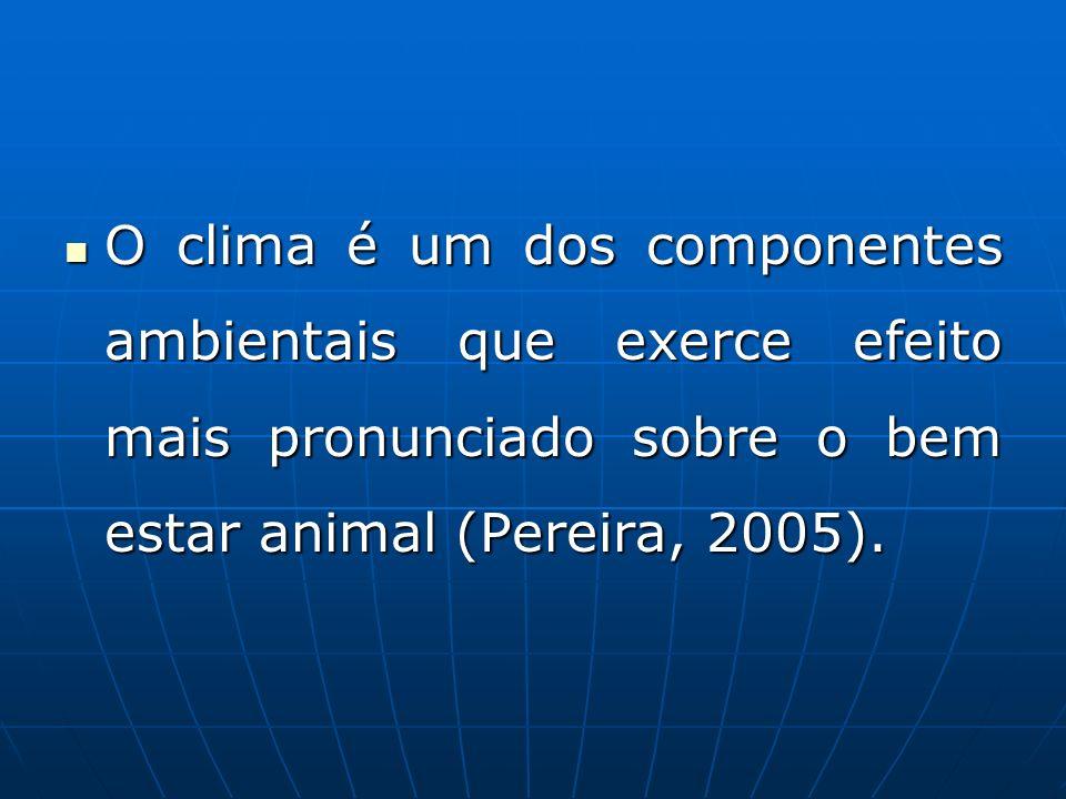 O clima é um dos componentes ambientais que exerce efeito mais pronunciado sobre o bem estar animal (Pereira, 2005). O clima é um dos componentes ambi