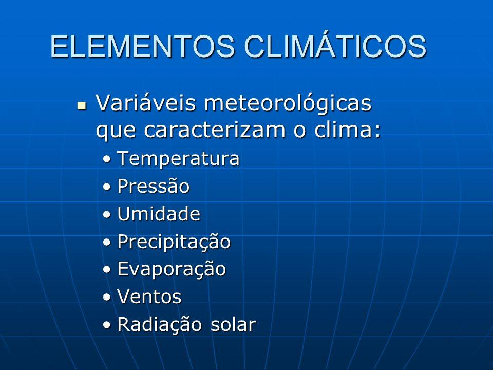 ELEMENTOS CLIMÁTICOS Variáveis meteorológicas que caracterizam o clima: Variáveis meteorológicas que caracterizam o clima: TemperaturaTemperatura Pres