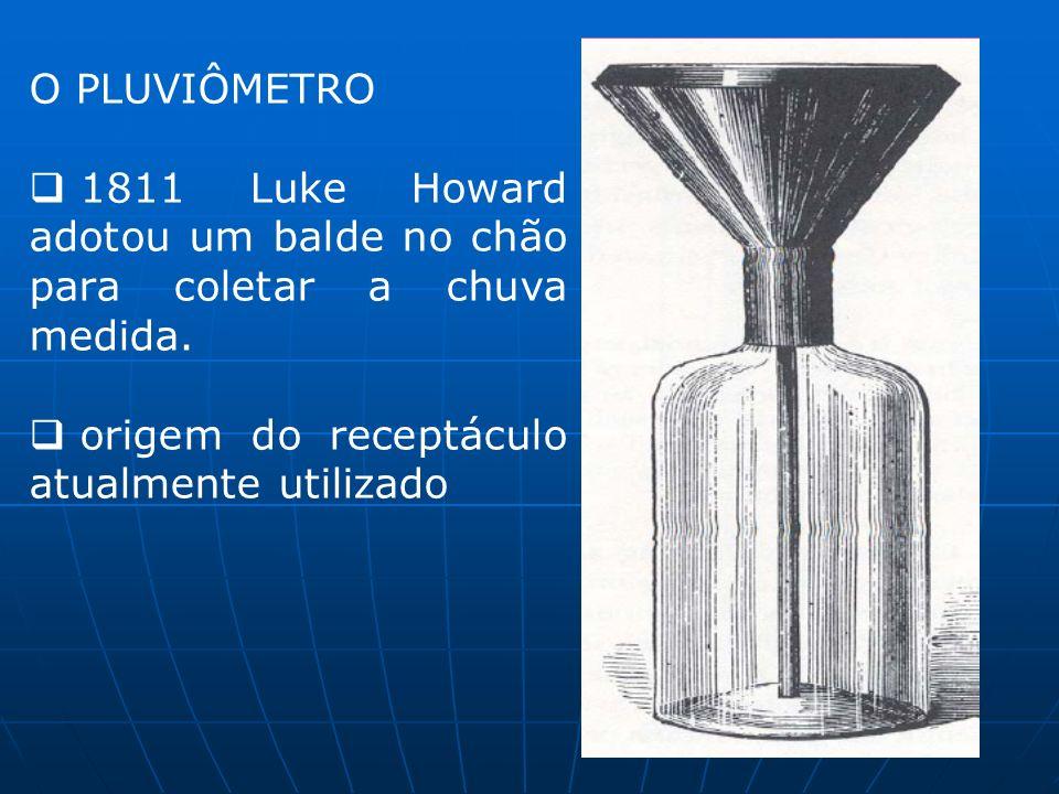 O PLUVIÔMETRO 1811 Luke Howard adotou um balde no chão para coletar a chuva medida. origem do receptáculo atualmente utilizado