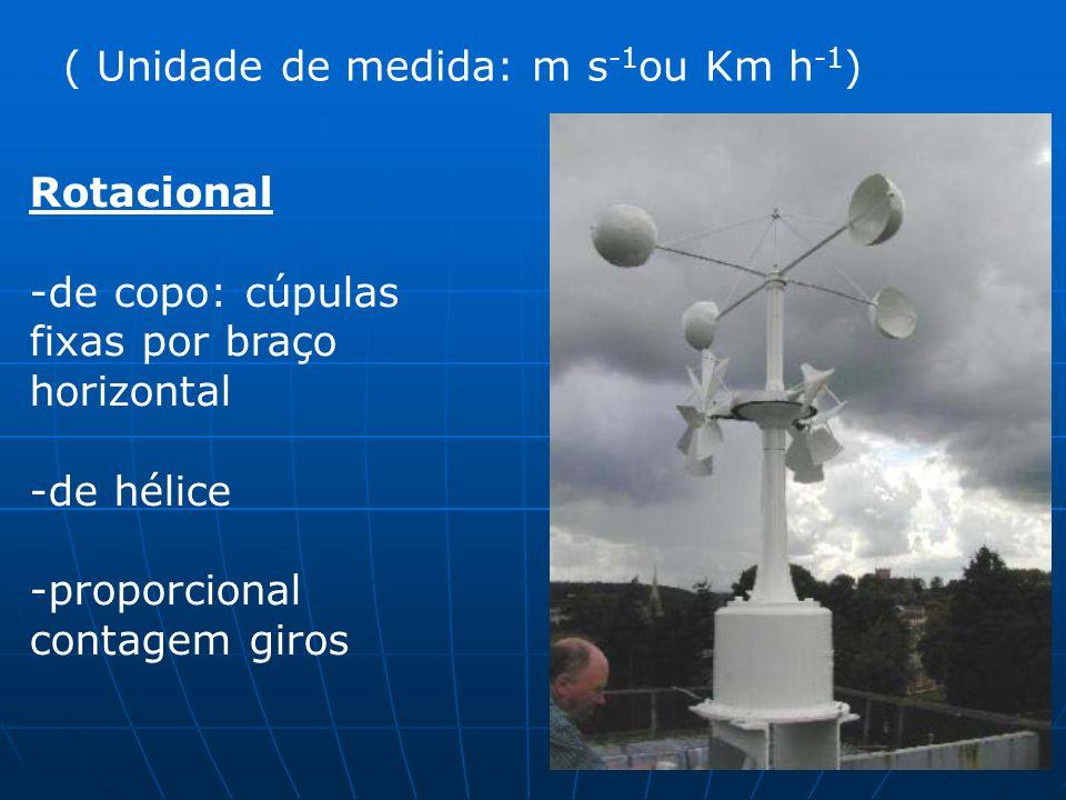 ( Unidade de medida: m s -1 ou Km h -1 ) Rotacional -de copo: cúpulas fixas por braço horizontal -de hélice -proporcional contagem giros