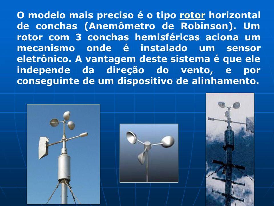 O modelo mais preciso é o tipo rotor horizontal de conchas (Anemômetro de Robinson). Um rotor com 3 conchas hemisféricas aciona um mecanismo onde é in