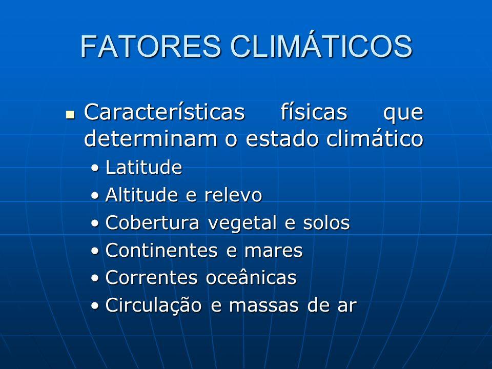 FATORES CLIMÁTICOS Características físicas que determinam o estado climático Características físicas que determinam o estado climático LatitudeLatitud