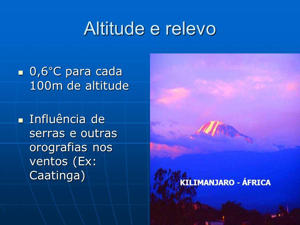 Altitude e relevo 0,6°C para cada 100m de altitude 0,6°C para cada 100m de altitude Influência de serras e outras orografias nos ventos (Ex: Caatinga)